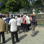 Tuk Tuk drivers, monks and farmers protesting in front of Ministry of Economy and Finance.