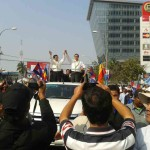 Sam Rainsy and Kem Sokha on a car during CNRP demontration.