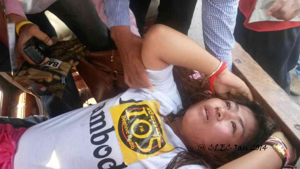 CNRP active activist,Pey Pey Ly, was beaten during the crackdown in Beehive FM protest.
