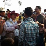 Media interview a villager who are joining the protest in front of UD company this late afternoon at Koh Kong.